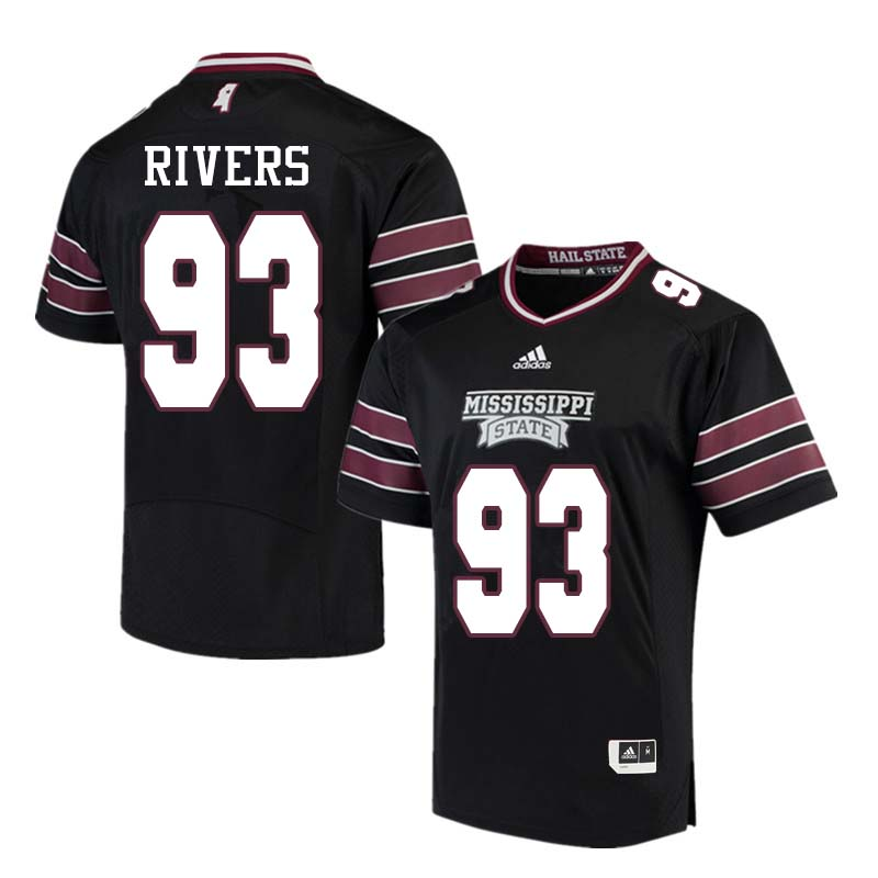 Men #93 Chauncey Rivers Mississippi State Bulldogs College Football Jerseys Sale-Black