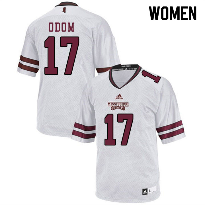 Women #17 Aaron Odom Mississippi State Bulldogs College Football Jerseys Sale-White