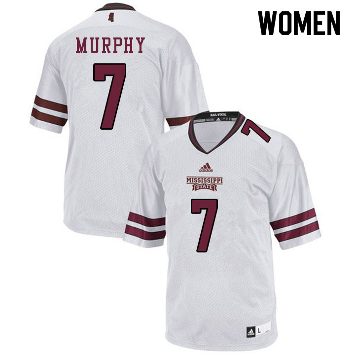 Women #7 Marcus Murphy Mississippi State Bulldogs College Football Jerseys Sale-White