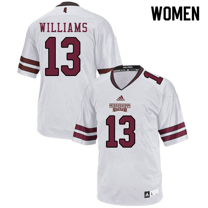 Women #13 Tyler Williams Mississippi State Bulldogs College Football Jerseys Sale-White