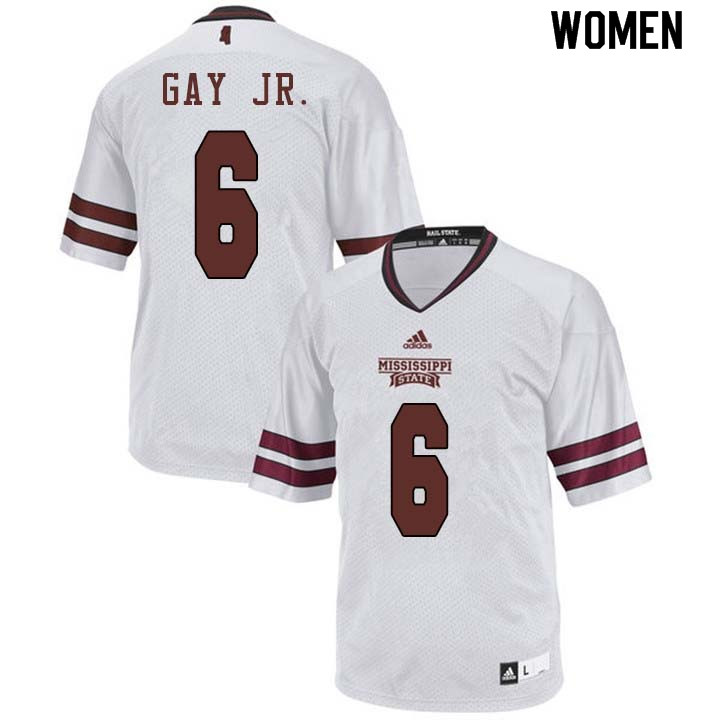 Women #6 Willie Gay Jr. Mississippi State Bulldogs College Football Jerseys Sale-White