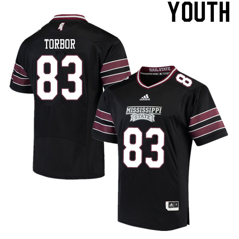 Youth #83 Quinton Torbor Mississippi State Bulldogs College Football Jerseys Sale-Black