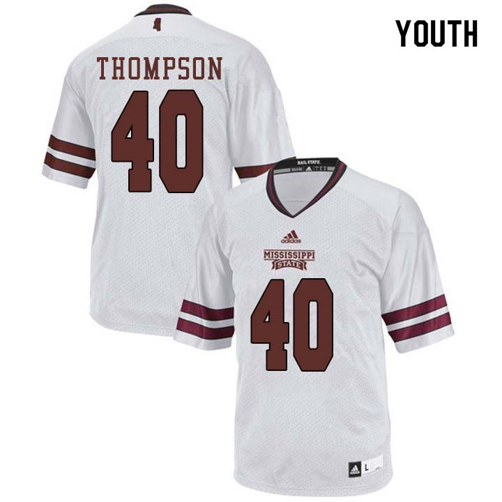 Youth #40 Erroll Thompson Mississippi State Bulldogs College Football Jerseys Sale-White