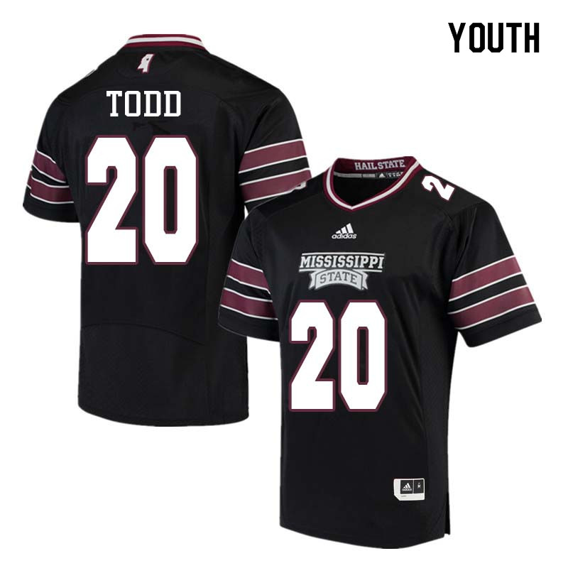 Youth #20 Reginald Todd Mississippi State Bulldogs College Football Jerseys Sale-Black