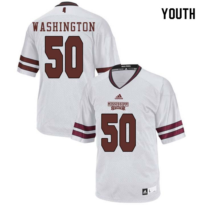 Youth #50 Tim Washington Mississippi State Bulldogs College Football Jerseys Sale-White